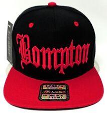 BOMPTON Snapback Cap Hat Compton Rap Hip Hop Flat Bill Caps Hats Black Red