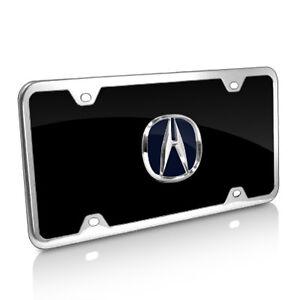 Acura Blue Logo Black Acrylic Auto License Plate with Chrome Frame Kit