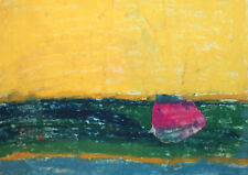 Vintage abstract landscape pastel painting