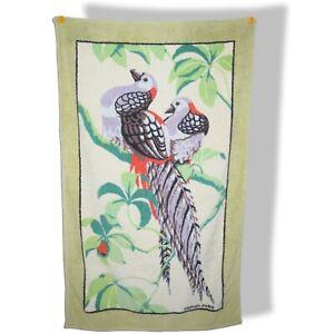 Hermes Vintage Anis/Mutli/Blanc BIRDS Tapis de Plage Terry Beach Towel 150 x 90