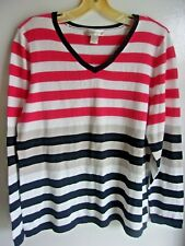 Women's Large NEW WITH TAGS Christopher & Banks Striped Pullover  Cotton Sweater