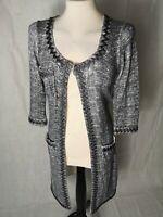 Ladies Cardigan Size 8 PHASE EIGHT Grey Tweed Look Long Line Applique