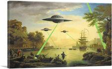 ARTCANVAS Flying Saucers Aliens Canvas Art Print by Banksy