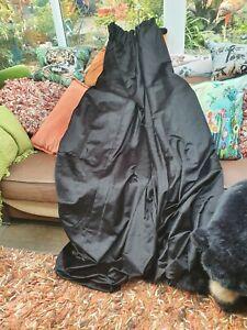 Pair Of Black Velvet Lined Curtains 80 In W X 82d Each