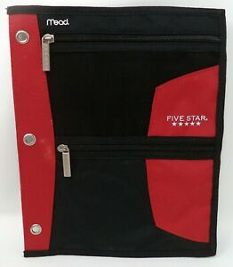 MEAD Red & Black Canvas & Mesh 3-Ring Binder Zippered Pouches