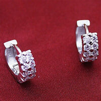 Trendy 1Pair Silver Plated Double Crystal Rhinestones Ear Stud Hoop Earrings