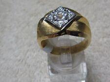 Vtg. Sz 8 1/2 PARK LANE MEN'S Gold Tone Ring w/5 CZ Stones, NEW OS