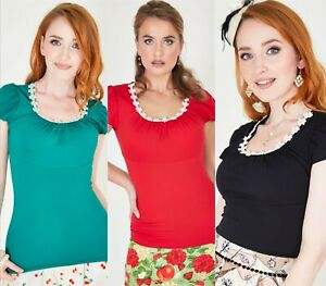 Womens Casual Tops T Shirts Sweatshirts Rockabilly Blouses Vintage Retro UK 8-16