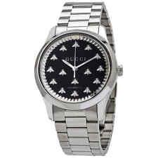 Gucci G-вневременной автоматический черный оникс камень циферблат женские часы YA1264130