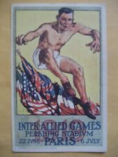 1919 Antique Paris France Postcard Inter-Allied Athletic Games Pershing Stadium