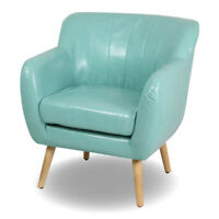 Mid-Century Modern Living Room Accent Chair Club Chair Single Sofa Blue Leather
