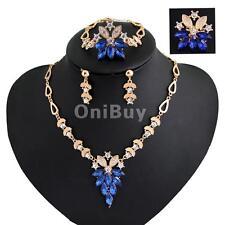 Bijoux Element cristal plaqué or Set strass collier pendentif boucles