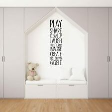 Play Share Clean Quote Playroom Kids Vinyl Art Sticker For Playhouse Wall Decals
