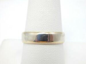14K YELLOW & WHITE GOLD TWO TONE SOLID MEN'S WEDDING BAND RING JB SIZE 9.25