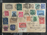 1924 Darmstadt Germany Inflation Cover to USA Multi Franked 37 Different Stamps!