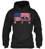 American Flag Wrestling - U S A Gildan Hoodie Sweatshirt