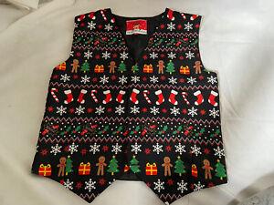 CHRISTMAS WORKSHOP Festive Xmas Fun Event Print Black Waistcoat size Large
