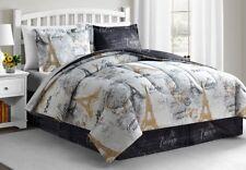 Paris Gold Comforter Queen Size 8-Pc Reversible Comforter Set. ( Bedding Set)
