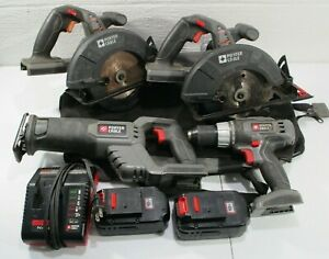 Porter Cable 18V Tool Set 8pc Drill Circular Recip Saws Battery Charger Bag