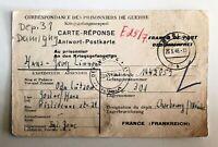 Lot of 2 - 1946 & 47  WW2 Prisoner of War folded letter & postcard - c-678