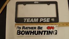 Vtg PSE Archery Precision Shooting Equip. License Plate Holder & Bumper Sticker