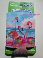 Flamingo Can Coolie Neoprene Bright Colors Whimsical Beach Theme New