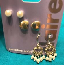 Three Pairs Claire's Faux Pearl Ball Silver Hearts Dangling Earrings New