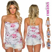 New Strapless Padded Women's Summer Top Floral Print Tube Size 6 8 10 XS S M