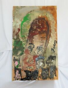 """Purvis Young: She's a Passionate Angel Happy in City Lg. 40"""" H  x 24"""" Wood / COA"""