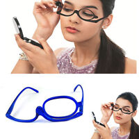 Magnifying Makeup Reading Glasses With Flip Over Lens Power NEW