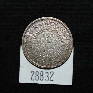 WPCoins ~ Morocco 1953 100 Francs Silver AH-1372, Y #52 Foreign Coin
