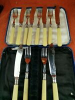 Antique Hallmarked Silver Plate 12 Piece Knives & Forks Set Cased C1890s