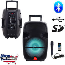 "Portable Bluetooth PA Speaker Pro 15"" Party DJ Karaoke with Microphone Remote"