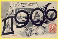cpa ILLUSTRATION Signée SUISSE GENÈVE Bonne Année Millésime 1906 Horloge Helveti
