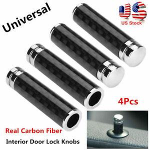 Universal Real Carbon Fiber Interior Door Lock Knobs Pins For Car Truck SUV 4Pcs