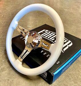 """14"""" White Chrome Spokes Steering Wheel Billet Horn Boat Car Truck - Factory 2nd"""