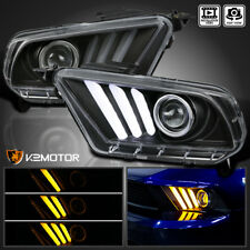 2010-2014 Ford Mustang Sequential LED DRL Bar Projector Headlights Black