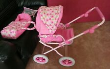 Corolle Girls dolls pram pink with flowers and matching carry bed