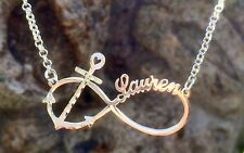 Personalized Infinity Anchor Name Necklace Any Name in Sterling Silver