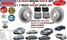 FOR LEXUS GS300 3.0 GS400 4.0 GS430 4.3 REAR BRAKE DISCS SET + BRAKE PADS KIT5