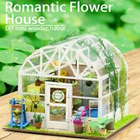 Bricolage en Bois Maison de Poupée Kits Meubles Miniatures LED Fleur Noël