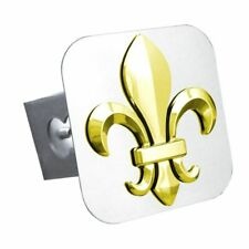 "Fleur-de-lis Gold Stainless Steel 1.25"" Trailer Tow Hitch Cover"
