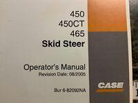 CASE Skid Steer 450, 450CT, 465, Operator's  Manual
