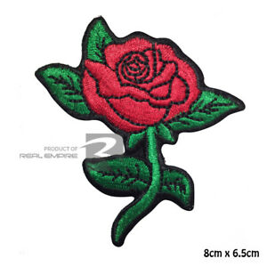 Red Rose Flower Embroidered Iron on Sew On Patch Badge For Clothes Bags etc