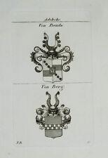 1827 Wappen Adelige von Benda von Berg Kupferstich Tyroff