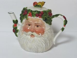 Dept 56 FATHER CHRISTMAS SANTA Porcelain Teapot Peggy Toole 2001