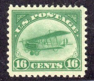 US C2 Curtiss Jenny Bi Plane 1918 16c green MNH air mail Gem example XF/Sup