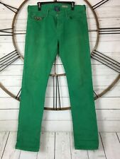 Polo Ralph Lauren Green Jeans 33 34 Embroidered 3 Horses Pocket 100% Cotton