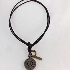 Shotgun Shell Tag PU Leather Cord Adjustable Necklace