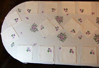 """table set 18 cutlery linen embroidered """"Purple"""" : tablecloth 11 4/12ft x 5 2/"""